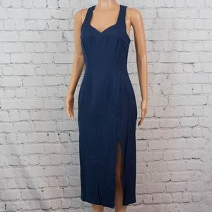 Blue fitted dress with slit